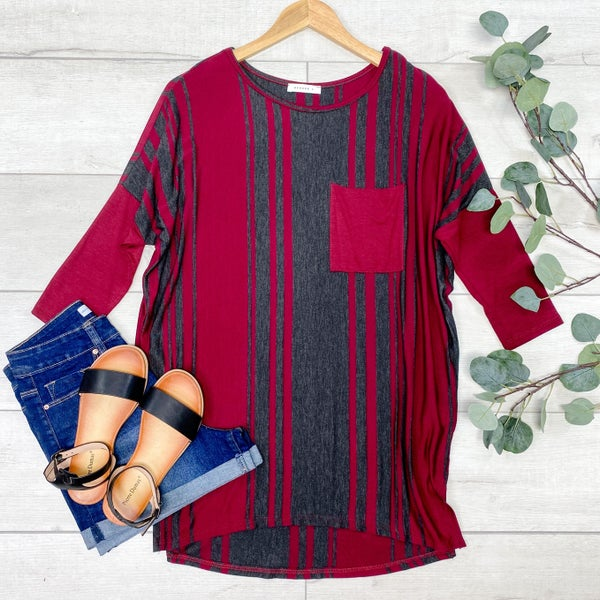 Striped Piko Top, Burgundy