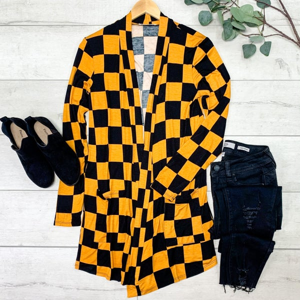 Checkered Print Cardigan, Mustard/Black *Final Sale*