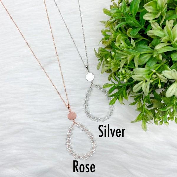 Teardrop Pearl Long Necklace
