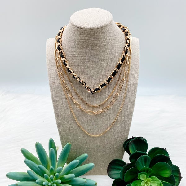 Short Multi Layered Chain Necklace, Gold