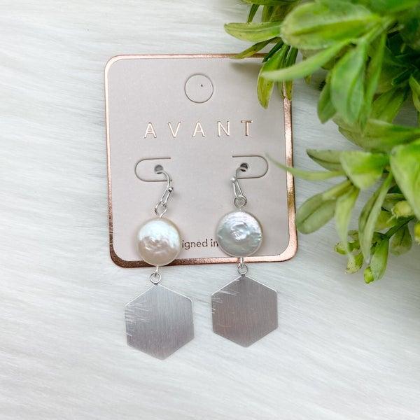 Pearl Hexagon Dangle Earrings, Silver