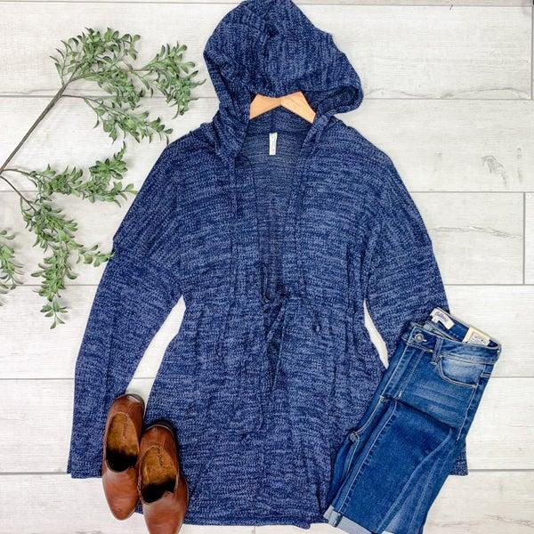 Hooded Knit Cardigan, Navy
