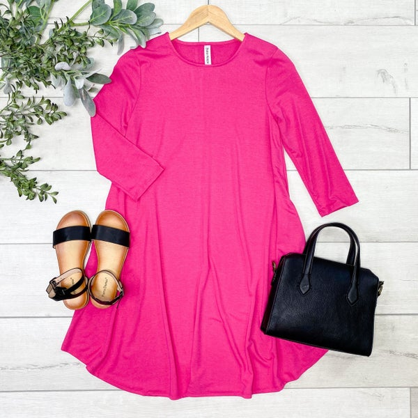 Solid Swing Dress w/Pockets, Hot Pink [[LIVE]]