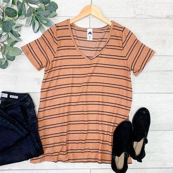 Striped Knit V-Neck Top, Almond