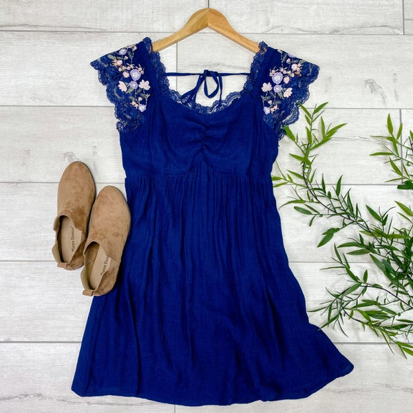 Lace Trimmed Babydoll Dress w/Embroidery, Navy