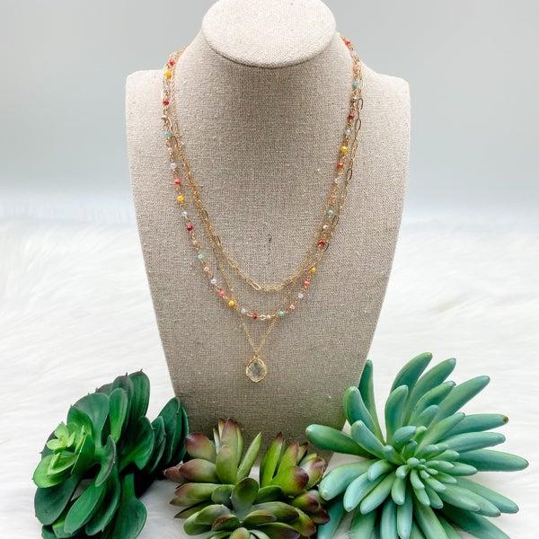 Three Layer Short Necklace w/ Stone Pendant, Multi
