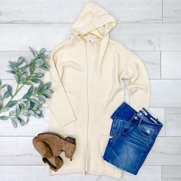 Hooded Cardigan w/Pcokets, Cream