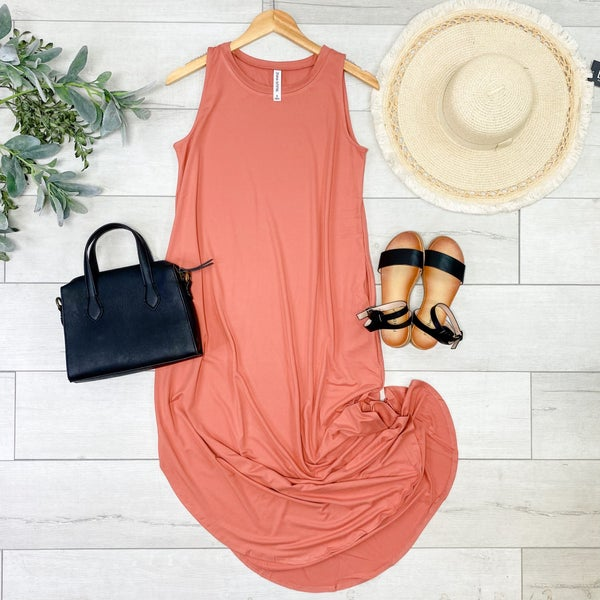 Solid Sleeveless Midi, Ash Rose