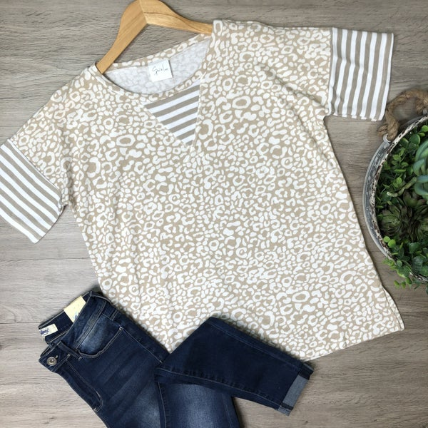 *Kendra's Collection* Leopard Contrast Top