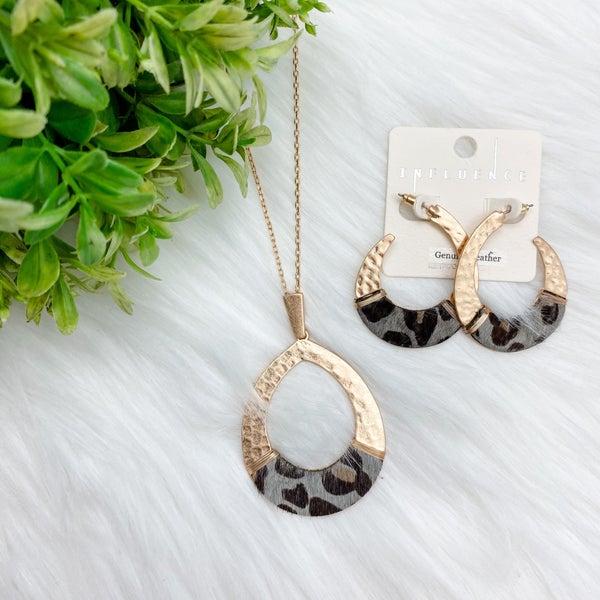 Leopard Teardrop Necklace + Earrings Set, Grey