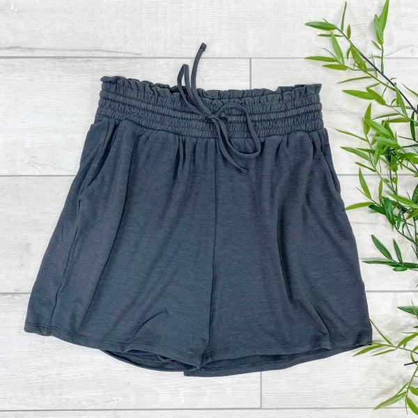 Drawstring Waist Paperbag Shorts, Ash Gray