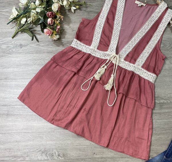 Ruffled Vest, Dusty Rose *Final Sale*