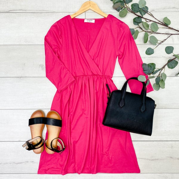 Cross Over Babydoll Dress, Hot Pink [[LIVE]]