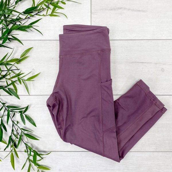 Capri Athletic Pocket Legging, Dark Mauve