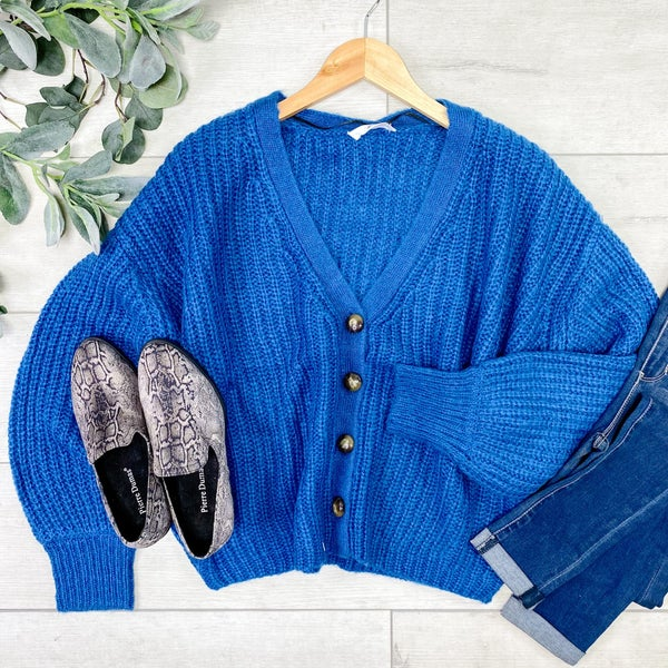 Cable Knit Cardigan, Teal