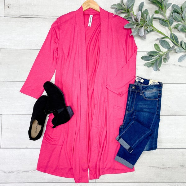 Solid Long Lightweight Cardigan w/ Pockets, Fuchsia