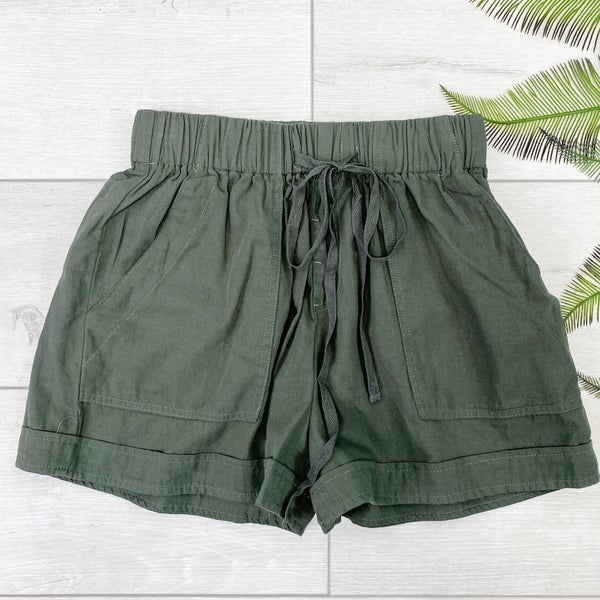 Utility Paper Bag Shorts, Olive