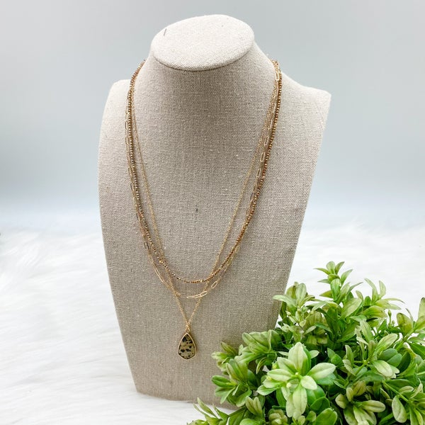 Short Layered Stone Necklace, Natural *Final Sale*