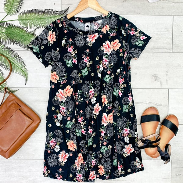 Floral Patterned Swing Dress, Black