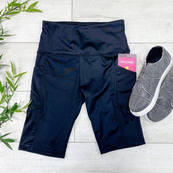 Solid Biker Shorts w/Pockets, Black
