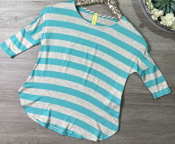 *Kid's Collection* Striped Round Hem Top, Oatmeal/Aqua *Final Sale*