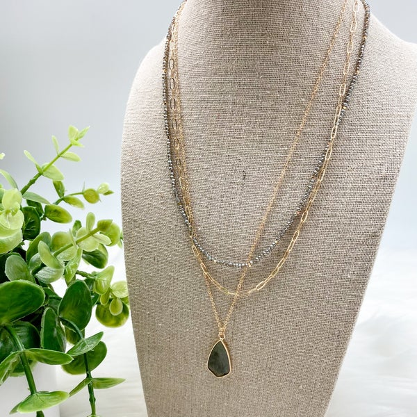 Short Layered Stone Necklace, Grey *Final Sale*