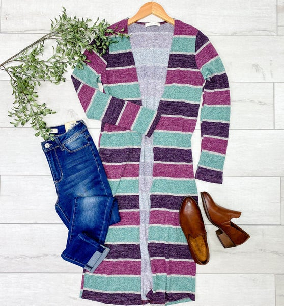 Long Striped Cardigan, Plum