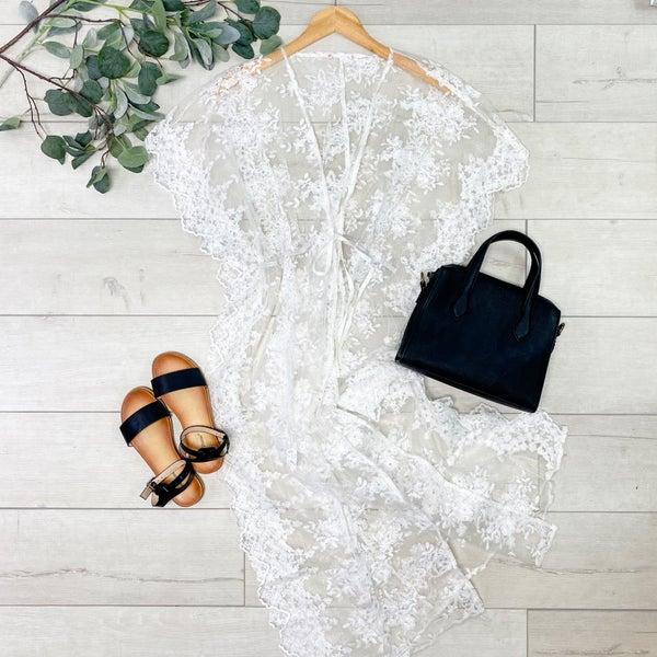Lace Front Tie Kimono, Ivory