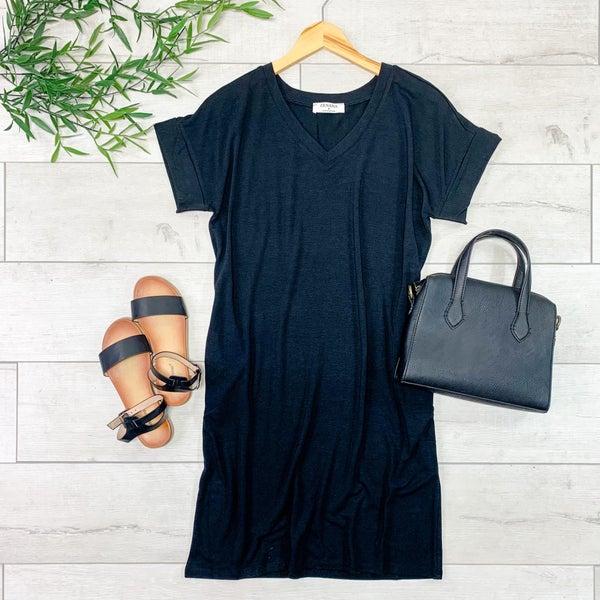 Solid V-Neck T-Shirt Dress, Black