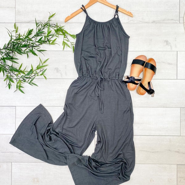 Strappy Adjustable Jumpsuit, Ash Gray