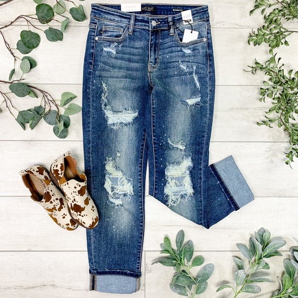 *JUDY BLUE*  Distressed Cuffed Skinny Jean, Medium Wash