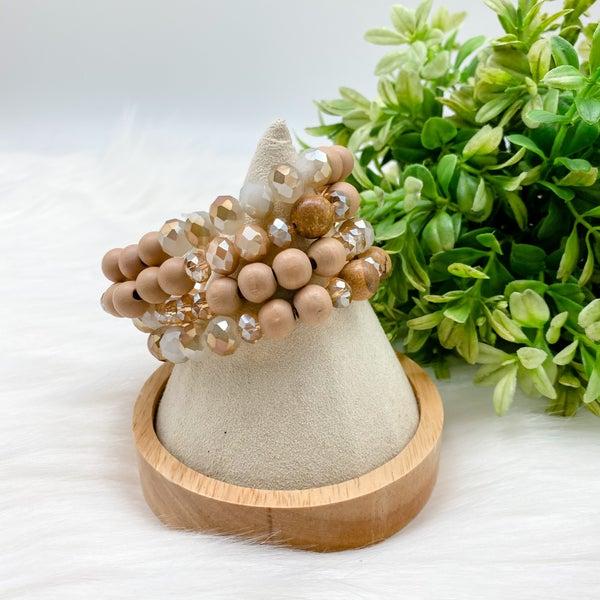 Beaded Four Bracelet Set, Brown