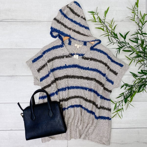 Hooded Stripe Poncho Top, Gray