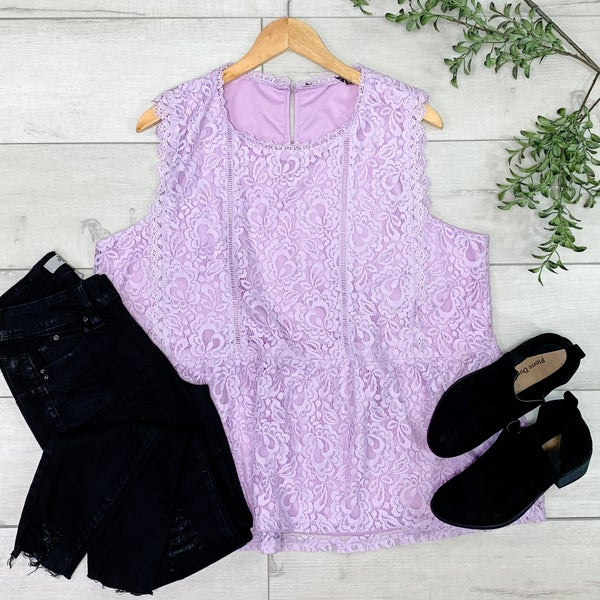 *PLUS* Sleeveless Lace Peplum Top, Lilac