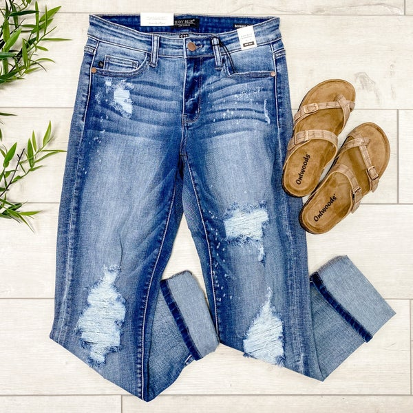 *JUDY BLUE* Beach Splatter Cuffed Boyfriend Denim, Light Wash