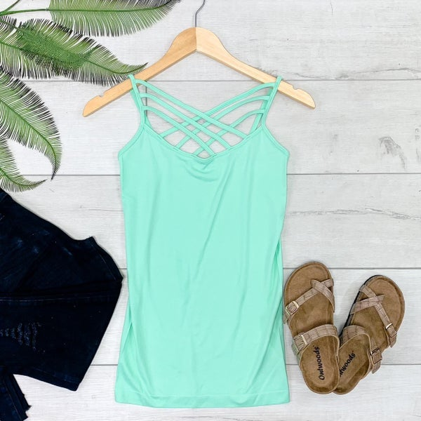Criss Cross Neck Cami, Green Mint