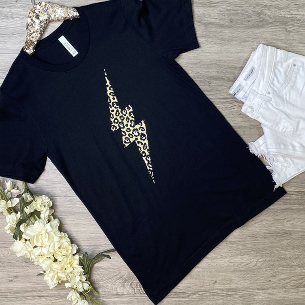 *Kendra's Collection* Leopard Lightning Tee, Black