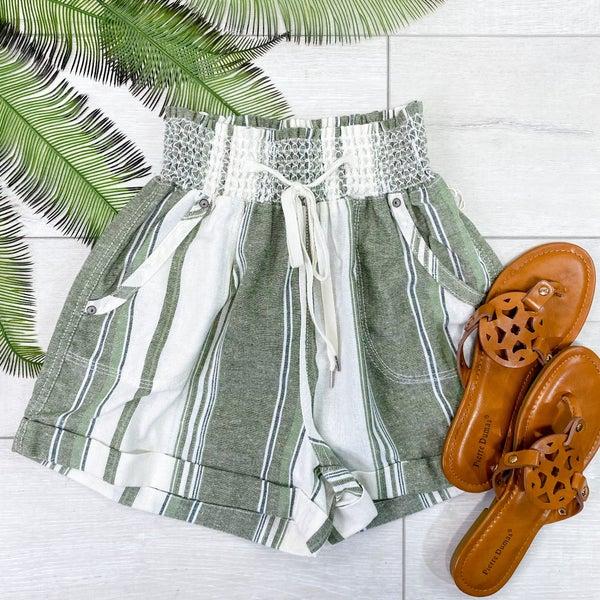 Smocked Striped Shorts, Green