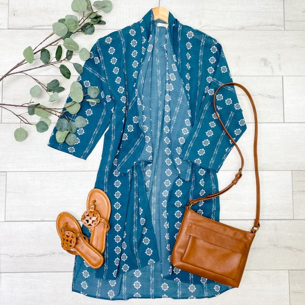 Patterned Fly Away Kimono, Teal
