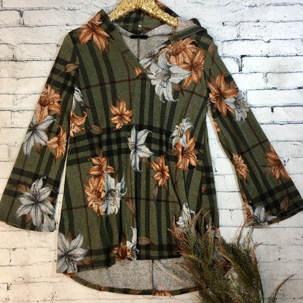 Floral Plaid Hooded Tunic - OLIVE (N) *LAST CALL - $5* [FINAL SALE]