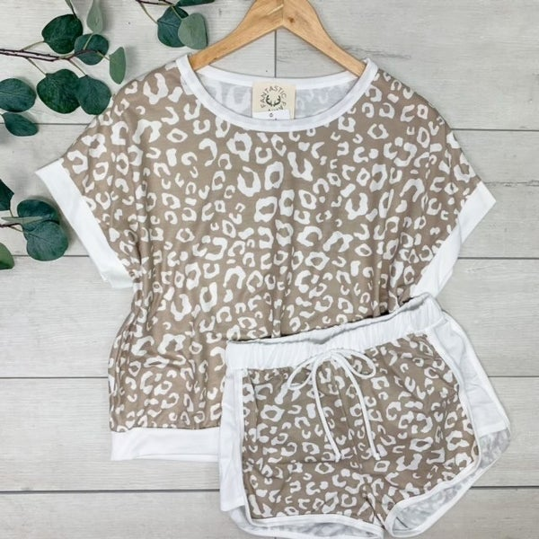 *Kendra's Collection* Leopard Print Knit Shorts & Top Off White/Taupe