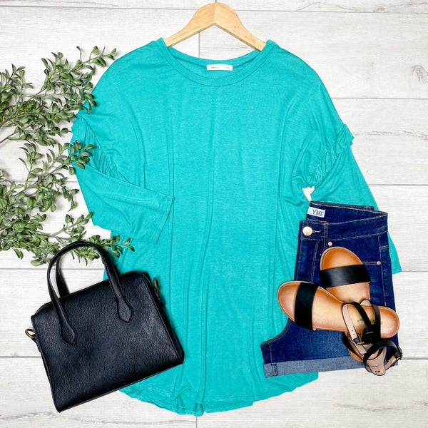 Ruffle Trimmed Top, Turquoise