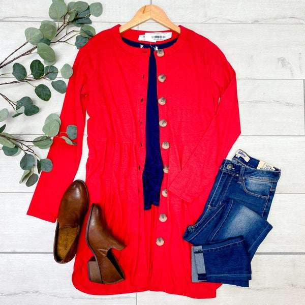 Babydoll Buttoned Cardigan, Ruby [[$18--LIVE]]