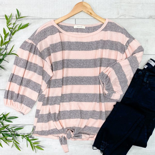 Striped Knit Front Tie Top, Peach