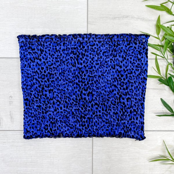 Leopard Print Smocked Tube Top, Bright Blue