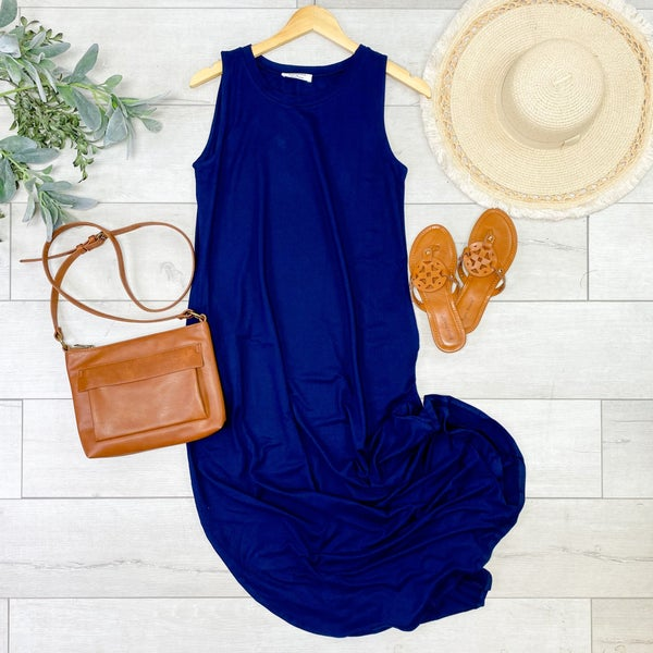 Solid Sleeveless Midi, Navy