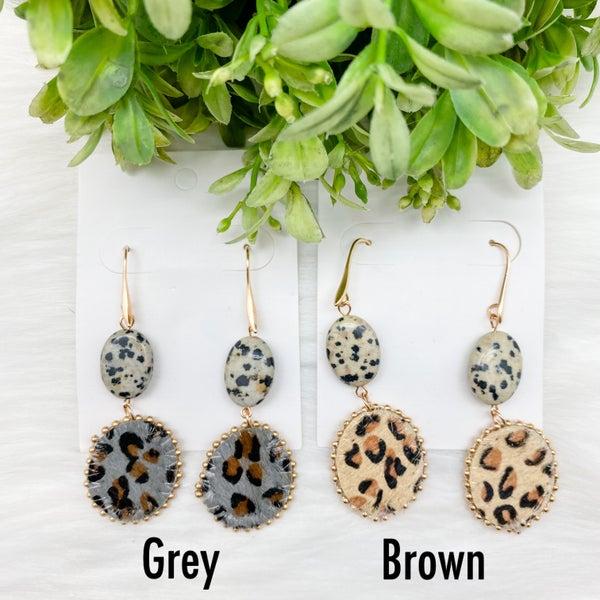 Leopard and Stone Drop Earrings