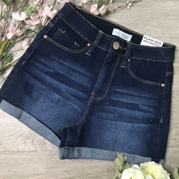 *Kendra's Collection* YMI Cuffed Shorts, Dark Denim
