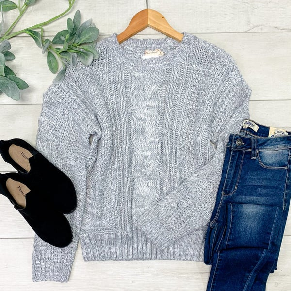 *Kendra's Collection* Twisted Cable Round Neck Sweater, Grey *Final Sale*
