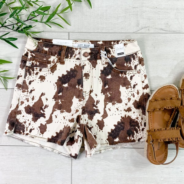 *Kendra's Collection*  Cow Print Mid-Rise Short